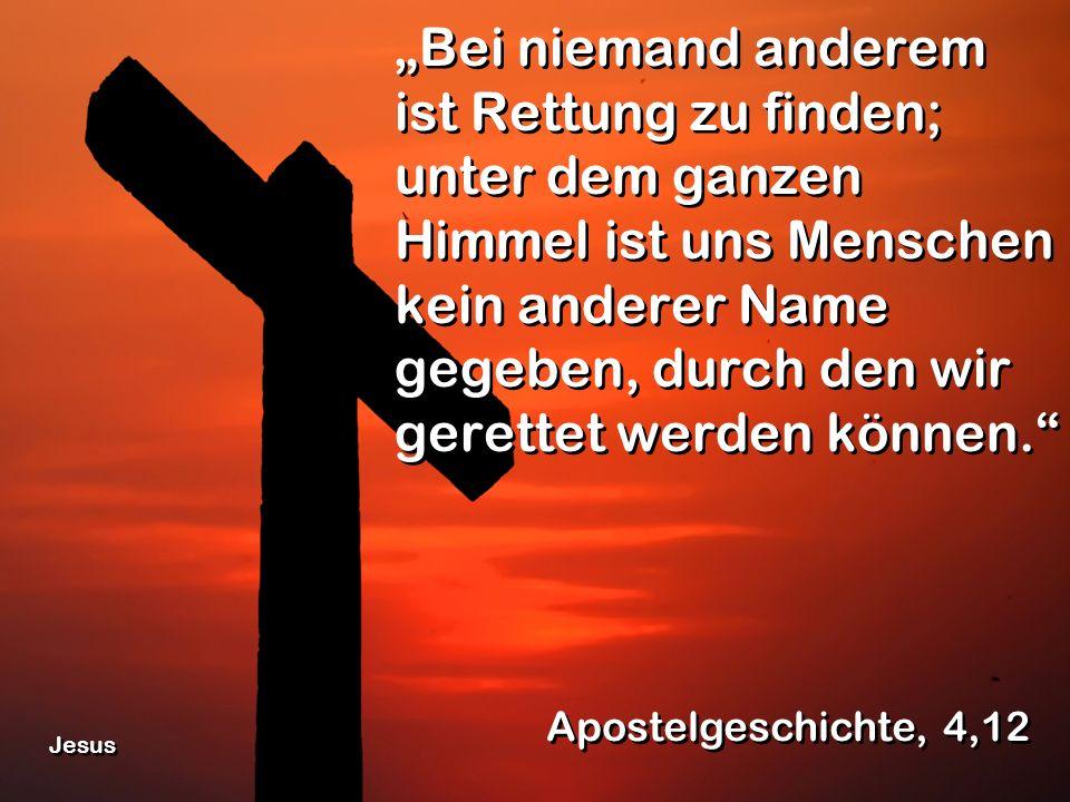 """""""Bei niemand anderem ist Rettung zu finden; unter dem ganzen Himmel ist uns Menschen kein anderer Name gegeben, durch den wir gerettet werden können."""