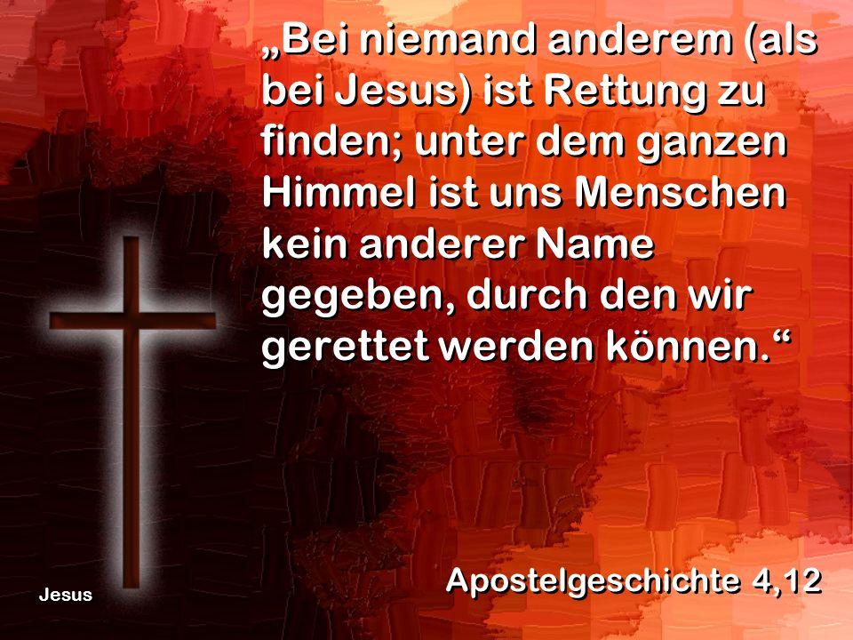 """""""Bei niemand anderem (als bei Jesus) ist Rettung zu finden; unter dem ganzen Himmel ist uns Menschen kein anderer Name gegeben, durch den wir gerettet werden können."""