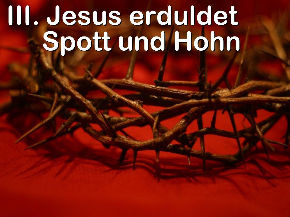 III. Jesus erduldet Spott und Hohn