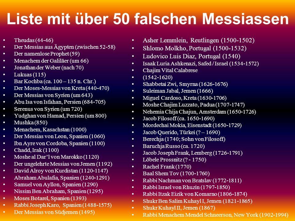 Liste mit über 50 falschen Messiassen