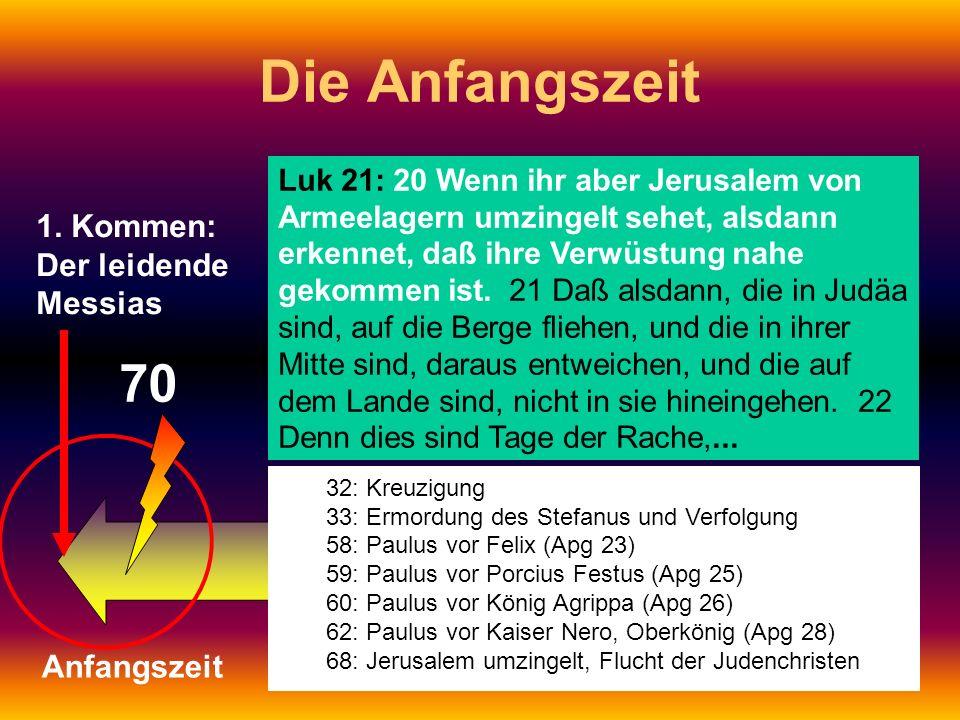 Die Anfangszeit 70 1. Kommen: Der leidende Messias Anfangszeit