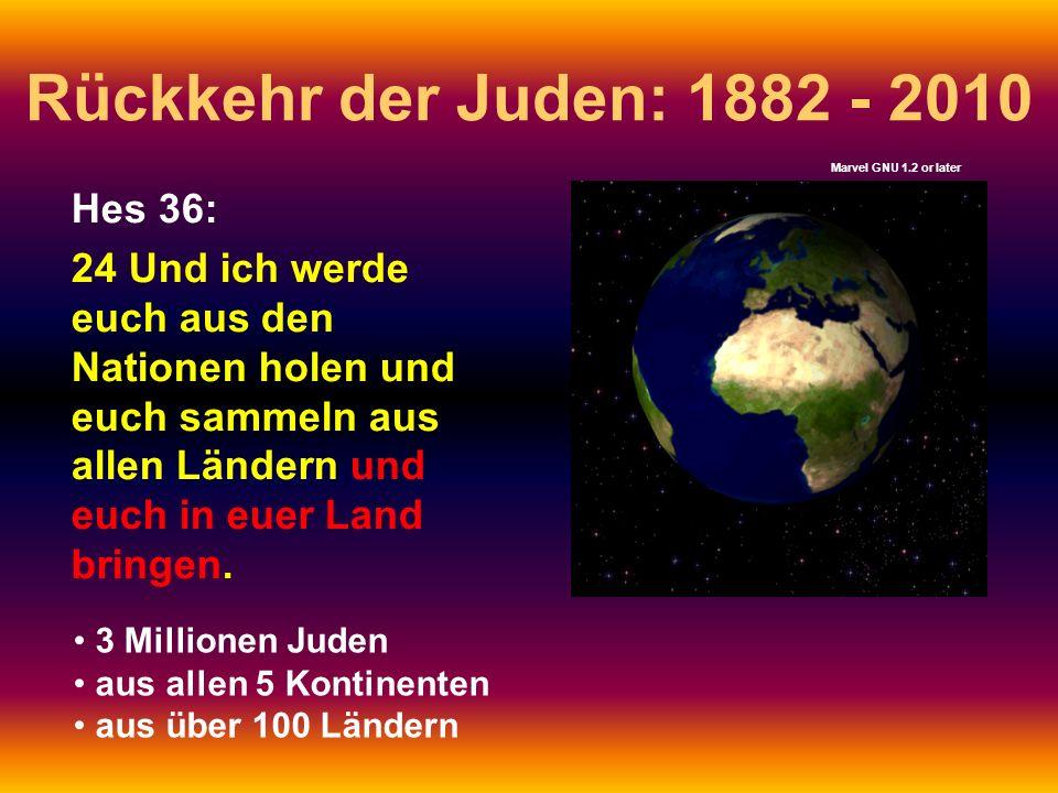 Rückkehr der Juden: 1882 - 2010 Hes 36: