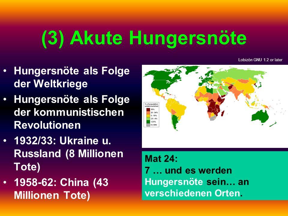 (3) Akute Hungersnöte Hungersnöte als Folge der Weltkriege
