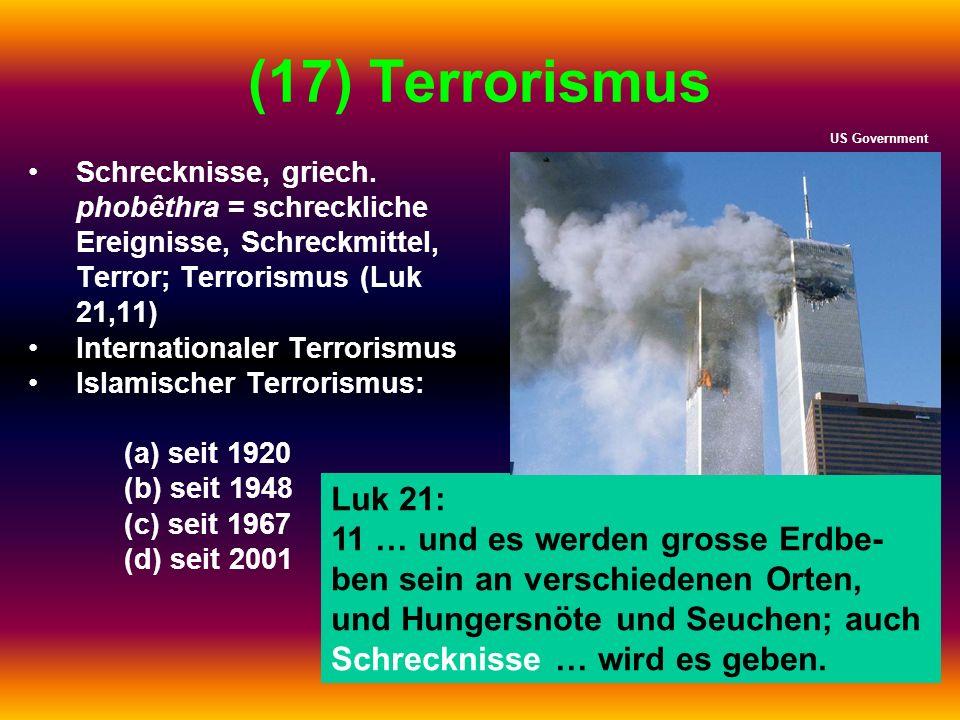 (17) Terrorismus US Government. Schrecknisse, griech. phobêthra = schreckliche Ereignisse, Schreckmittel, Terror; Terrorismus (Luk 21,11)