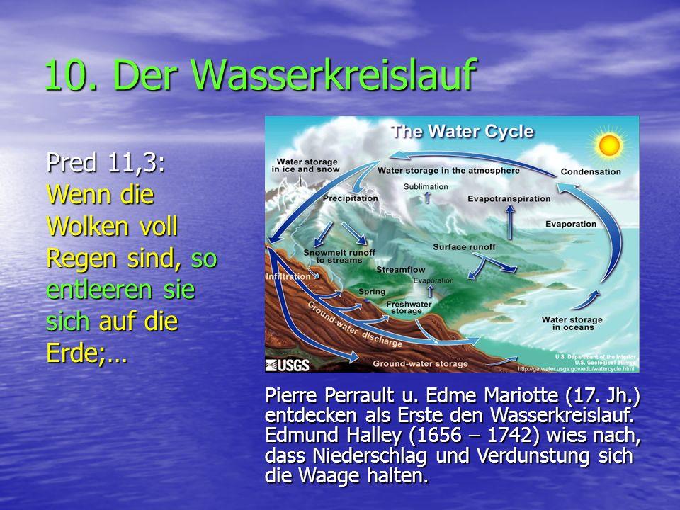 10. Der Wasserkreislauf Pred 11,3: Wenn die Wolken voll Regen sind, so entleeren sie sich auf die Erde;…