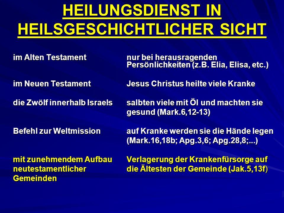 HEILUNGSDIENST IN HEILSGESCHICHTLICHER SICHT