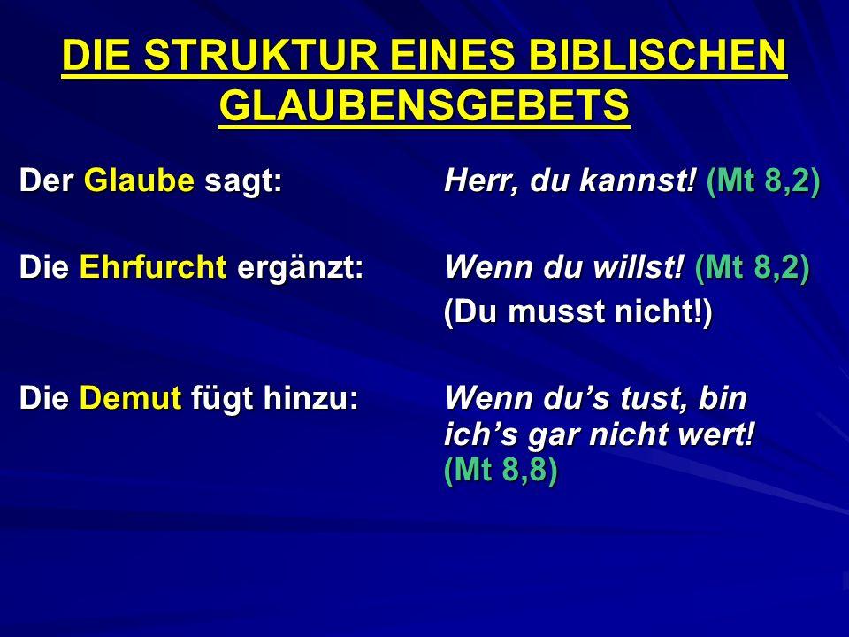 DIE STRUKTUR EINES BIBLISCHEN GLAUBENSGEBETS