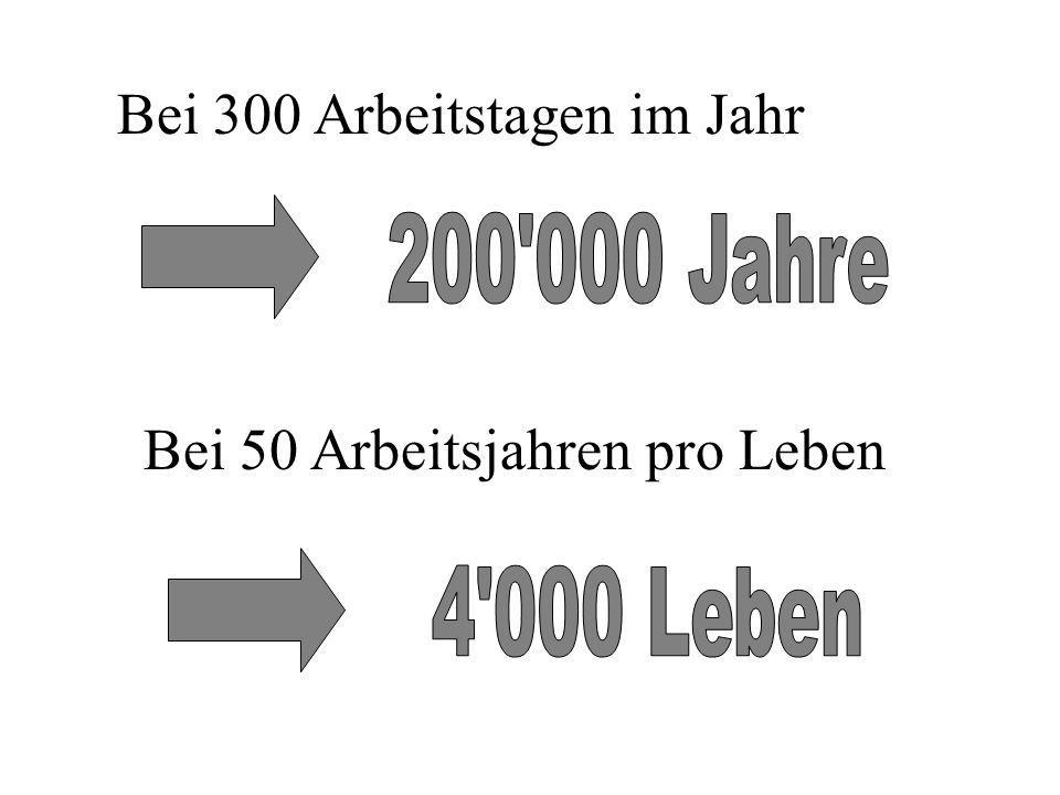 200 000 Jahre 4 000 Leben Bei 300 Arbeitstagen im Jahr