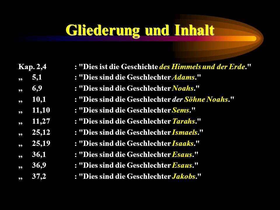 Gliederung und Inhalt Kap. 2,4 : Dies ist die Geschichte des Himmels und der Erde. ,, 5,1 : Dies sind die Geschlechter Adams.