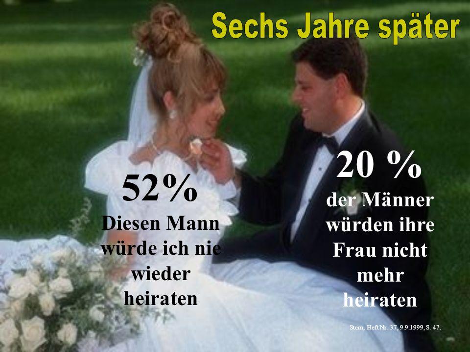 20 % der Männer würden ihre Frau nicht mehr heiraten