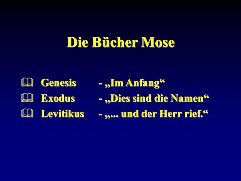 """Die Bücher Mose Genesis - """"Im Anfang Exodus - """"Dies sind die Namen"""