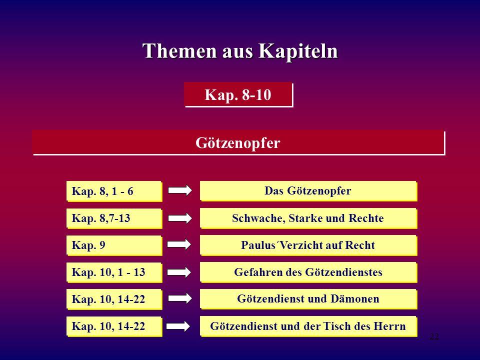 Themen aus Kapiteln Kap. 8-10 Götzenopfer Kap. 8, 1 - 6