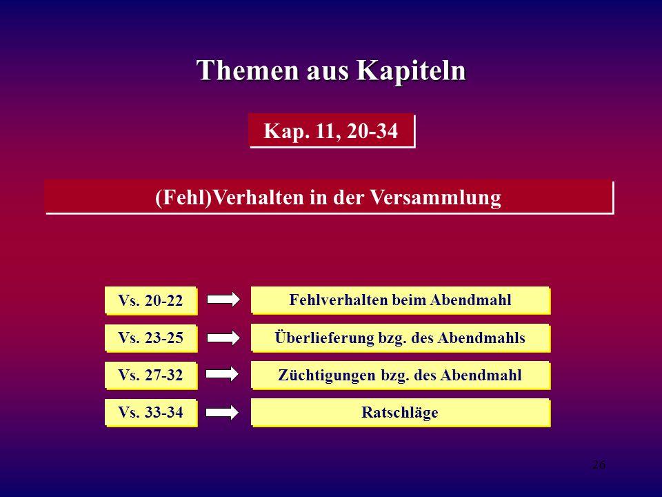 Themen aus Kapiteln Kap. 11, 20-34 (Fehl)Verhalten in der Versammlung