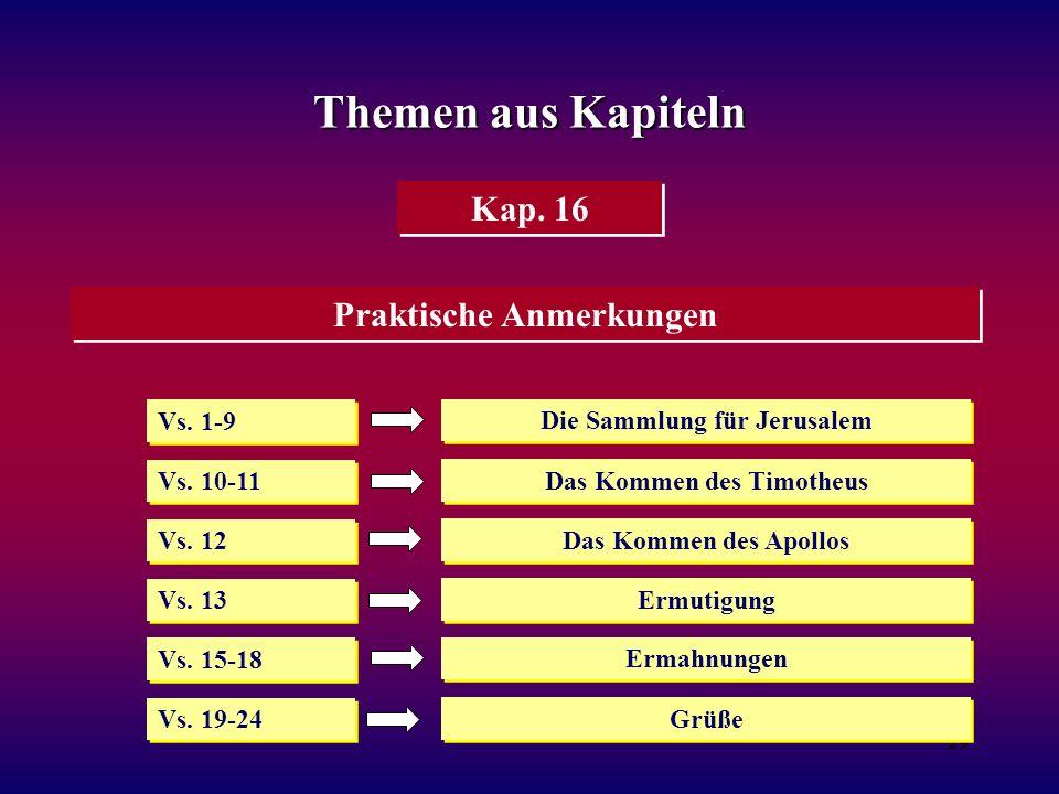 Themen aus Kapiteln Kap. 16 Praktische Anmerkungen Vs. 1-9