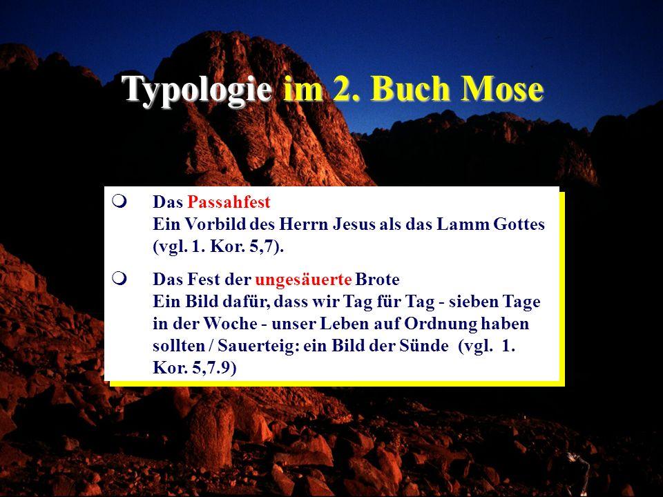 Typologie im 2. Buch MoseDas Passahfest Ein Vorbild des Herrn Jesus als das Lamm Gottes (vgl. 1. Kor. 5,7).