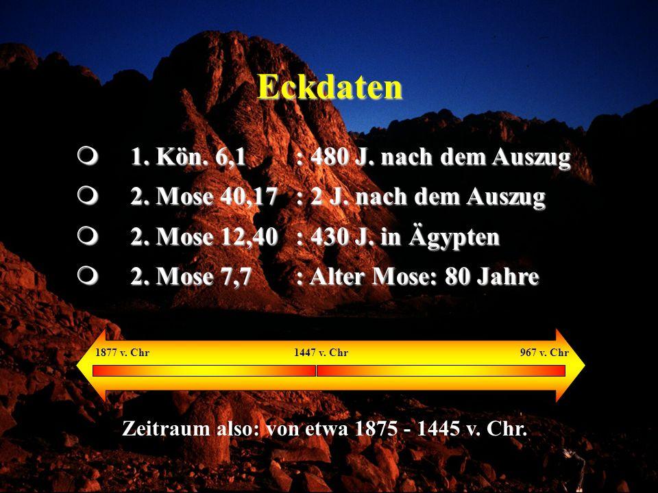Eckdaten 1. Kön. 6,1 : 480 J. nach dem Auszug