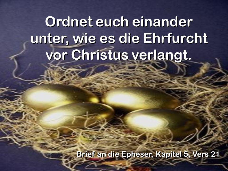 Ordnet euch einander unter, wie es die Ehrfurcht vor Christus verlangt.