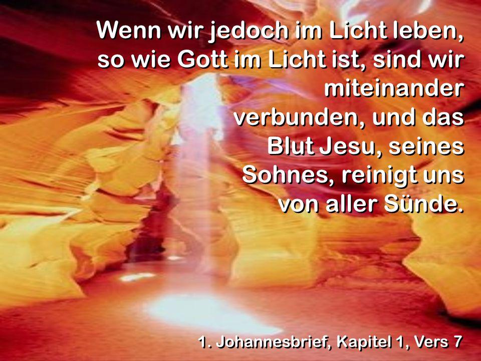 Wenn wir jedoch im Licht leben, so wie Gott im Licht ist, sind wir miteinander verbunden, und das Blut Jesu, seines Sohnes, reinigt uns von aller Sünde.