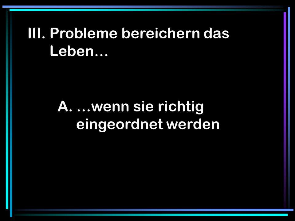 III. Probleme bereichern das Leben…