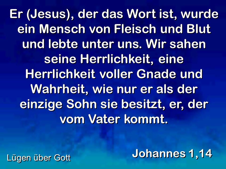 Er (Jesus), der das Wort ist, wurde ein Mensch von Fleisch und Blut und lebte unter uns. Wir sahen seine Herrlichkeit, eine Herrlichkeit voller Gnade und Wahrheit, wie nur er als der einzige Sohn sie besitzt, er, der vom Vater kommt.