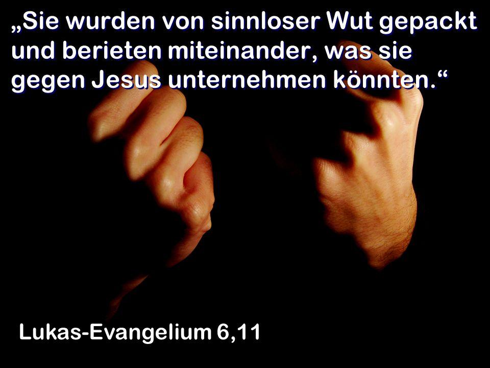 """""""Sie wurden von sinnloser Wut gepackt und berieten miteinander, was sie gegen Jesus unternehmen könnten."""