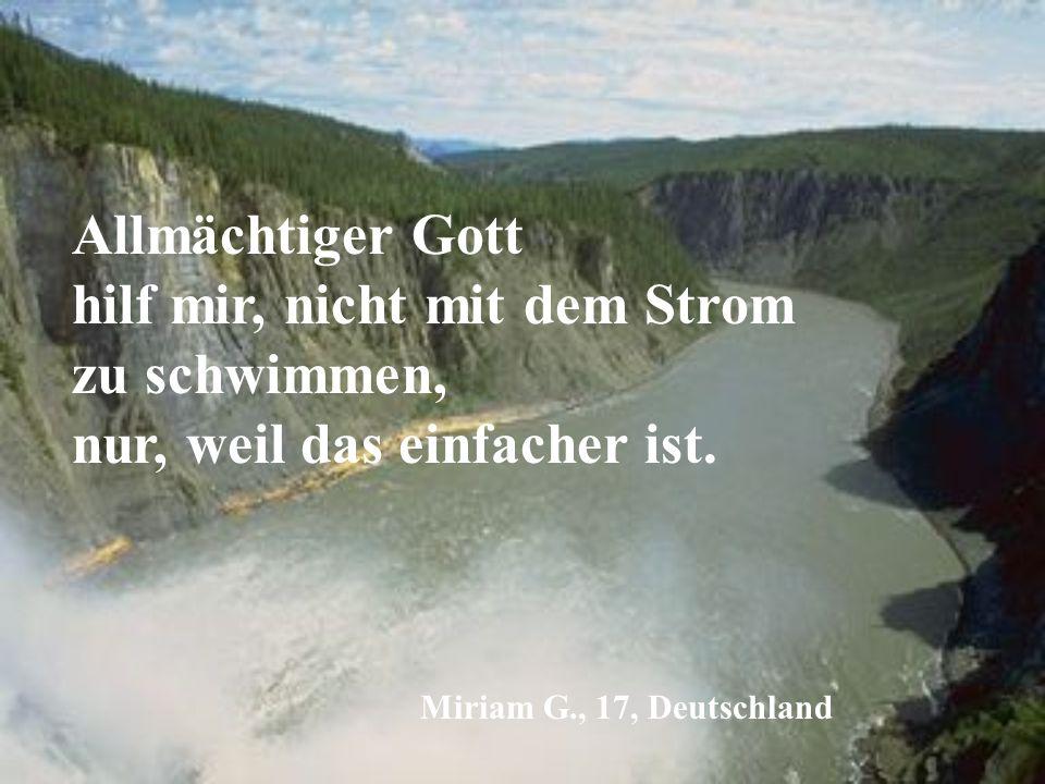 Allmächtiger Gott hilf mir, nicht mit dem Strom zu schwimmen, nur, weil das einfacher ist.