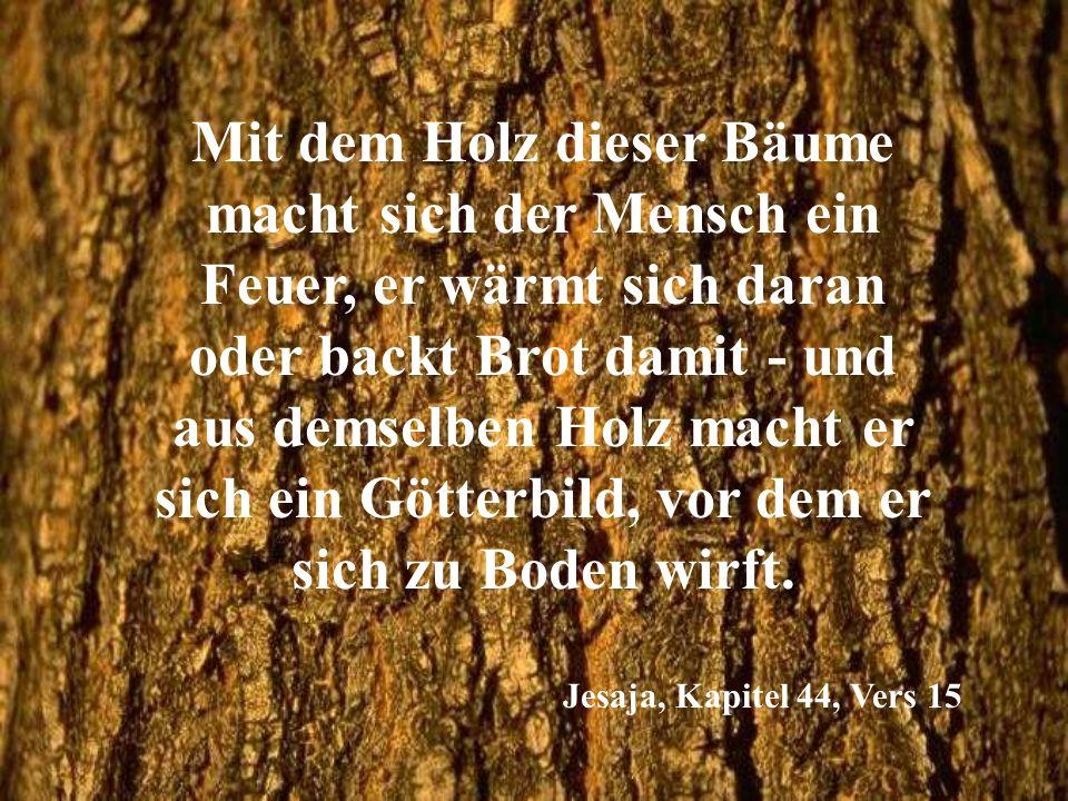 Mit dem Holz dieser Bäume macht sich der Mensch ein Feuer, er wärmt sich daran oder backt Brot damit - und aus demselben Holz macht er sich ein Götterbild, vor dem er sich zu Boden wirft.