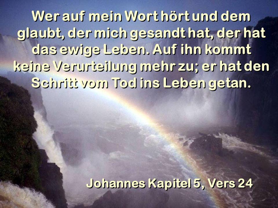 Wer auf mein Wort hört und dem glaubt, der mich gesandt hat, der hat das ewige Leben. Auf ihn kommt keine Verurteilung mehr zu; er hat den Schritt vom Tod ins Leben getan.