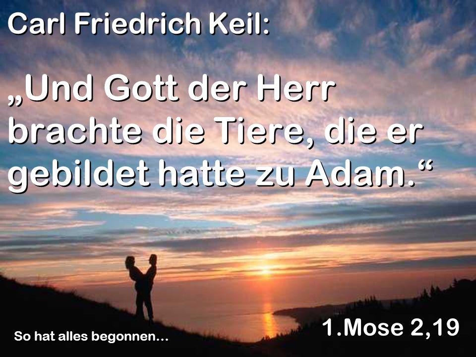 """""""Und Gott der Herr brachte die Tiere, die er gebildet hatte zu Adam."""