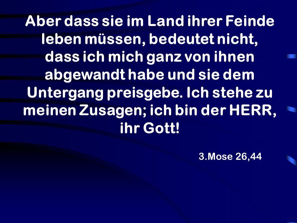 Aber dass sie im Land ihrer Feinde leben müssen, bedeutet nicht, dass ich mich ganz von ihnen abgewandt habe und sie dem Untergang preisgebe. Ich stehe zu meinen Zusagen; ich bin der HERR, ihr Gott!