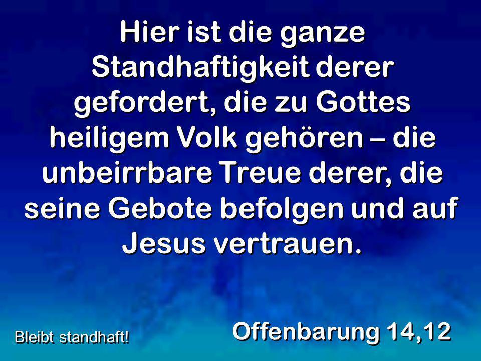 Hier ist die ganze Standhaftigkeit derer gefordert, die zu Gottes heiligem Volk gehören – die unbeirrbare Treue derer, die seine Gebote befolgen und auf Jesus vertrauen.
