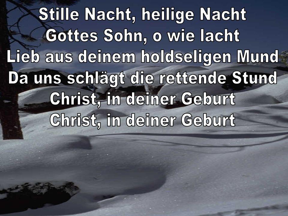 Stille Nacht, heilige Nacht Gottes Sohn, o wie lacht