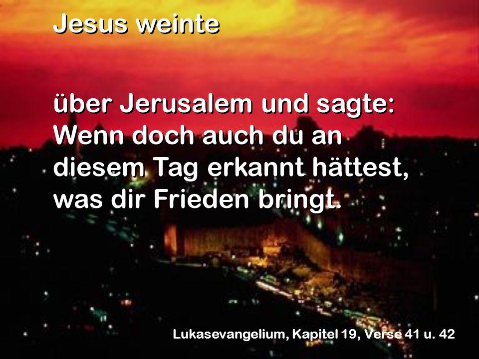 Jesus weinte über Jerusalem und sagte: Wenn doch auch du an diesem Tag erkannt hättest, was dir Frieden bringt.