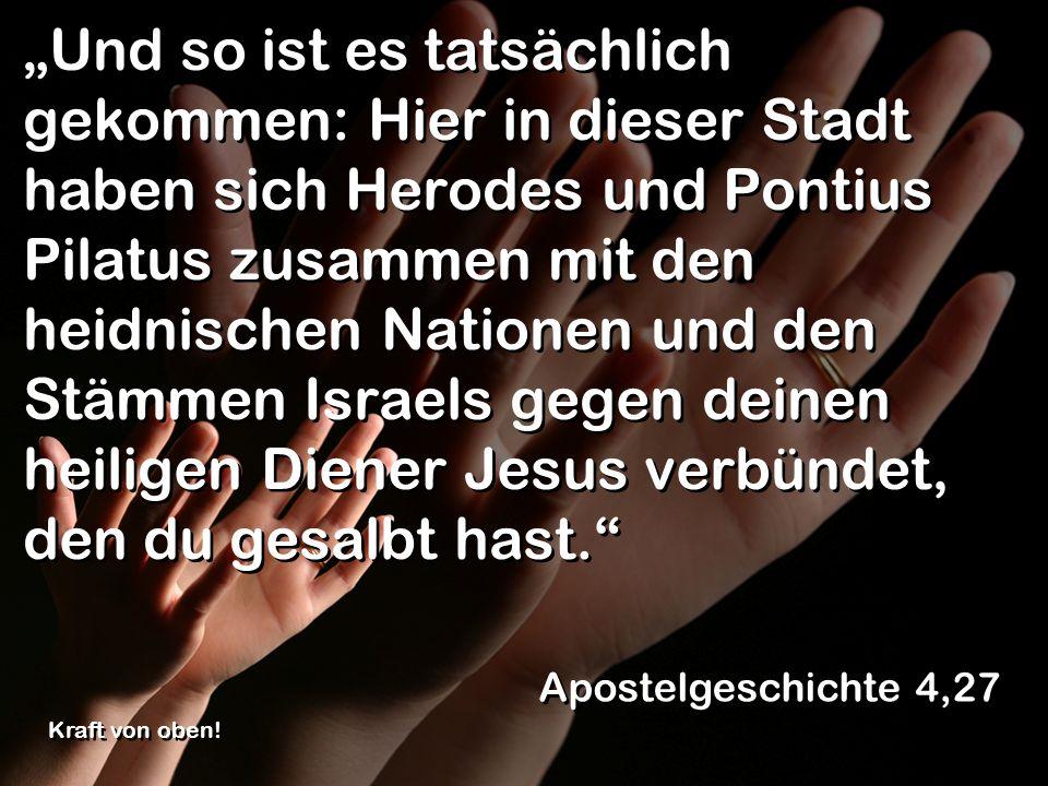 """""""Und so ist es tatsächlich gekommen: Hier in dieser Stadt haben sich Herodes und Pontius Pilatus zusammen mit den heidnischen Nationen und den Stämmen Israels gegen deinen heiligen Diener Jesus verbündet, den du gesalbt hast."""