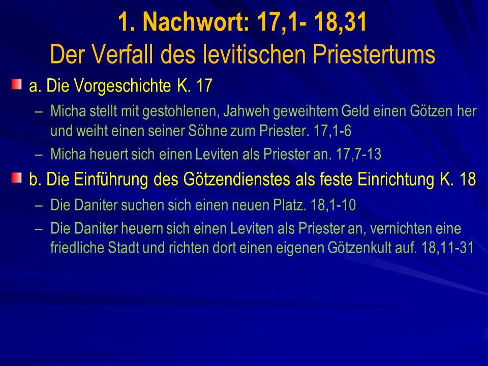 1. Nachwort: 17,1- 18,31 Der Verfall des levitischen Priestertums