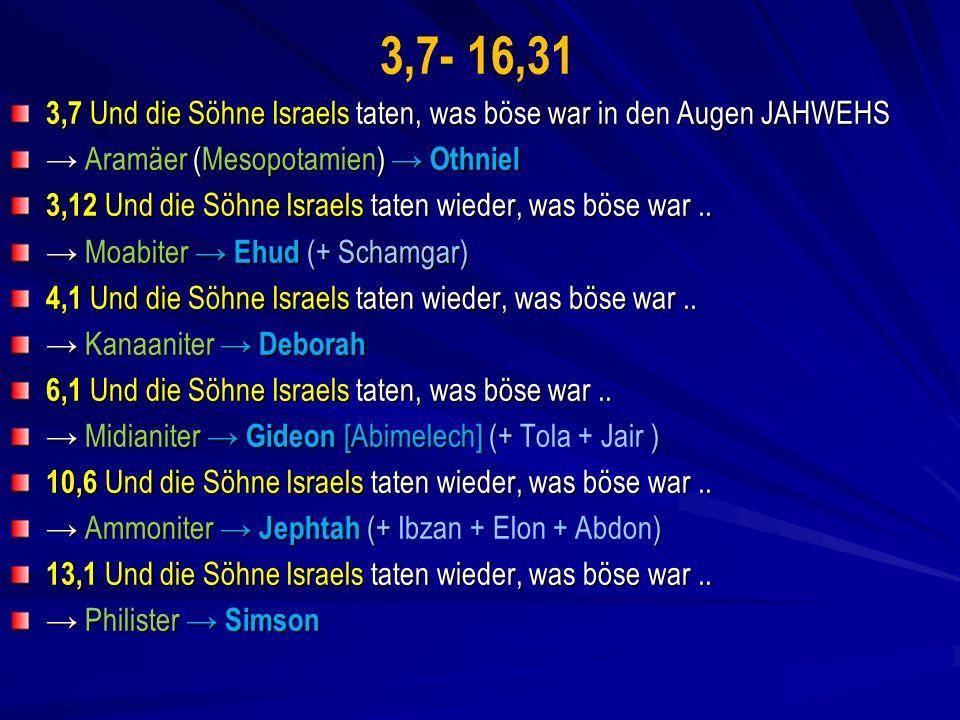 3,7- 16,31 3,7 Und die Söhne Israels taten, was böse war in den Augen JAHWEHS. → Aramäer (Mesopotamien) → Othniel.