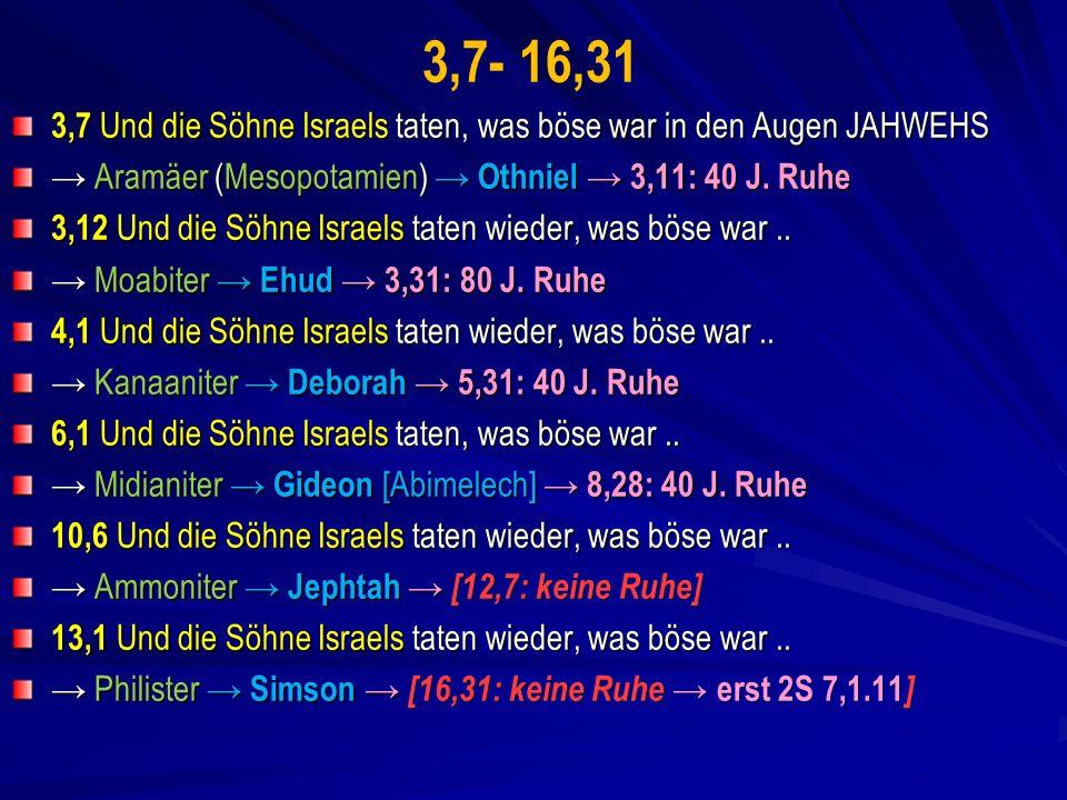 3,7- 16,31 3,7 Und die Söhne Israels taten, was böse war in den Augen JAHWEHS. → Aramäer (Mesopotamien) → Othniel → 3,11: 40 J. Ruhe.