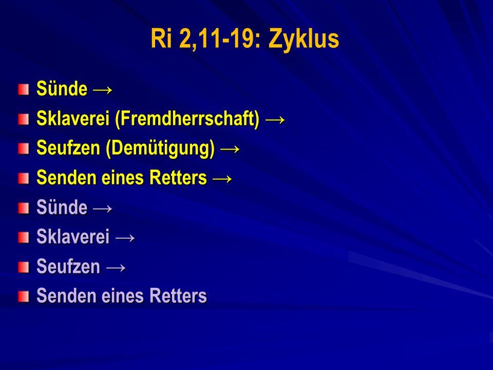 Ri 2,11-19: Zyklus Sünde → Sklaverei (Fremdherrschaft) →