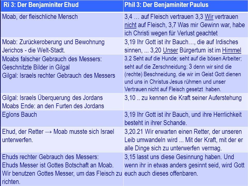 Ri 3: Der Benjaminiter Ehud Phil 3: Der Benjaminiter Paulus
