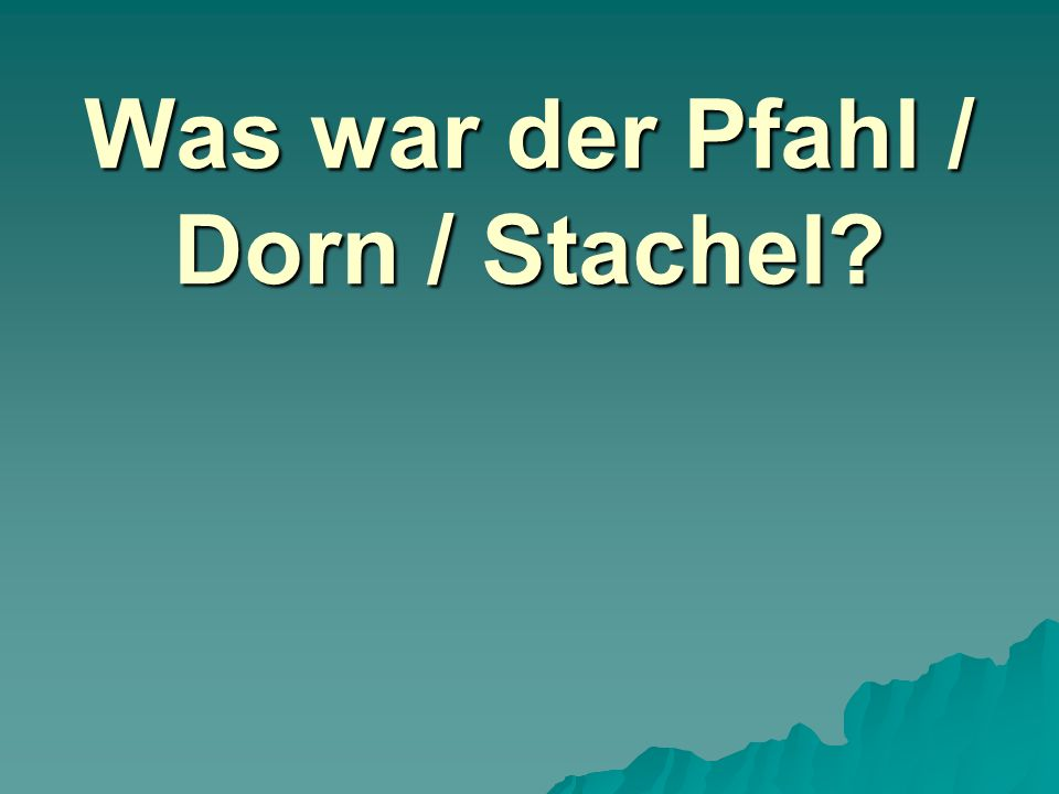Was war der Pfahl / Dorn / Stachel