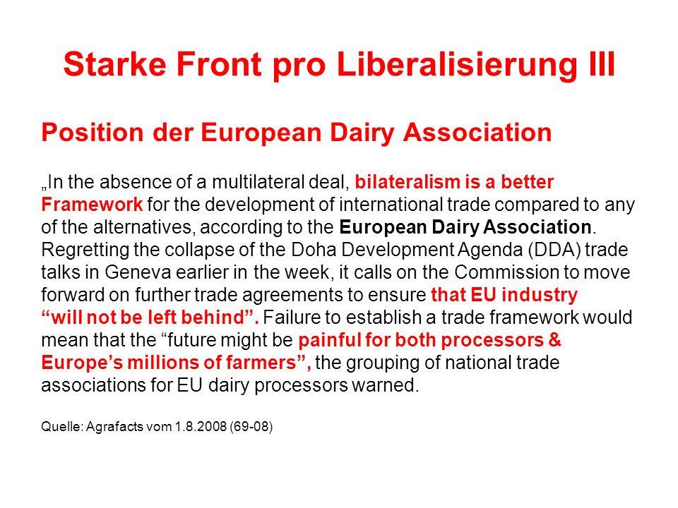 Starke Front pro Liberalisierung III