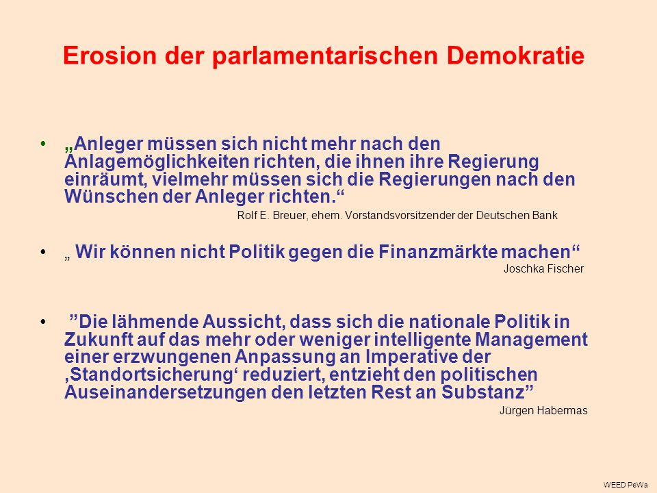 Erosion der parlamentarischen Demokratie