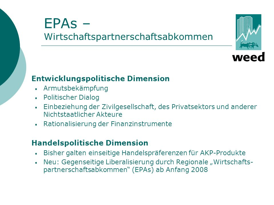 EPAs – Wirtschaftspartnerschaftsabkommen