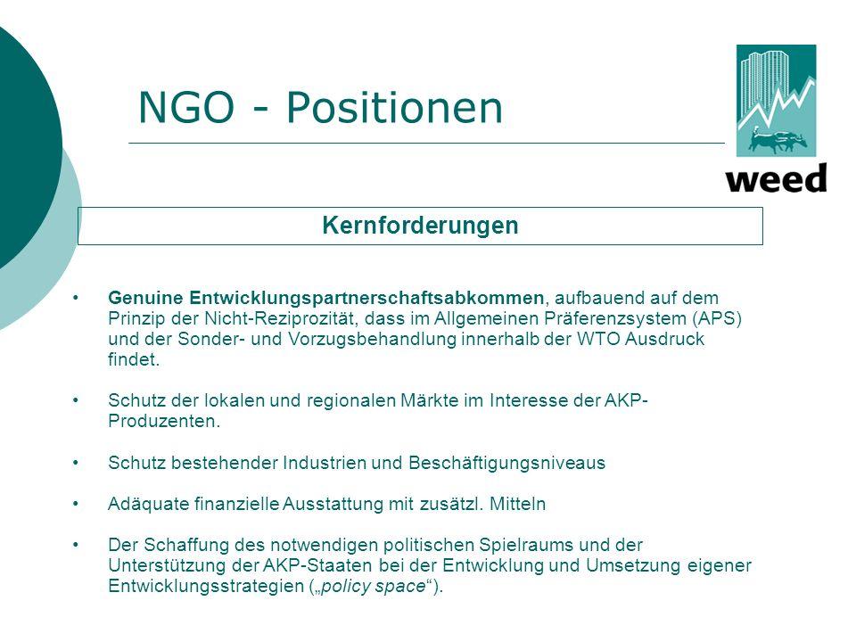 NGO - Positionen Kernforderungen