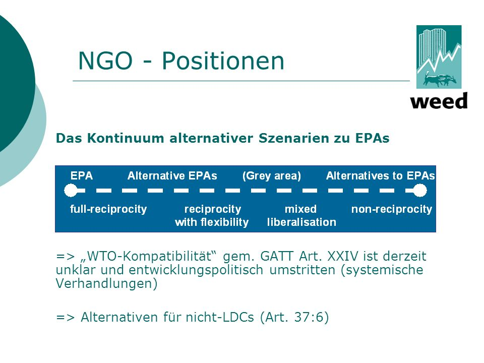 NGO - Positionen Das Kontinuum alternativer Szenarien zu EPAs.