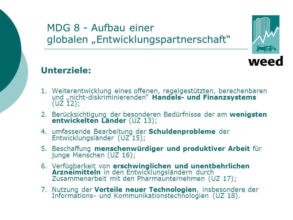 """MDG 8 - Aufbau einer globalen """"Entwicklungspartnerschaft"""