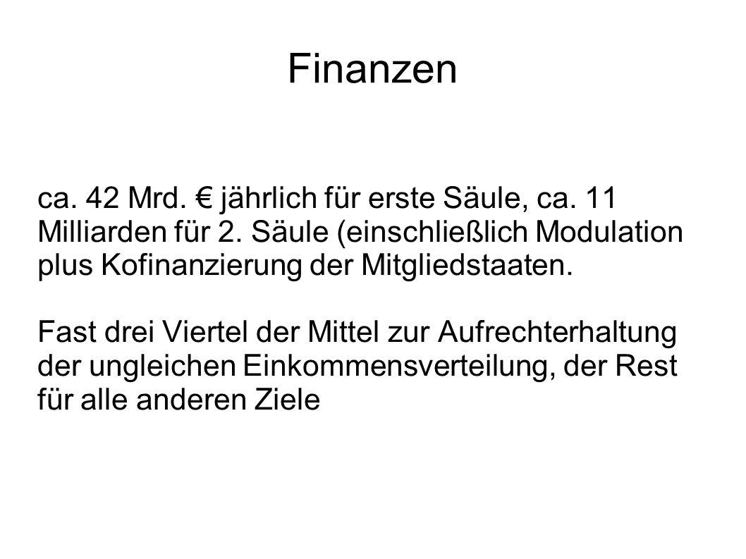 Finanzen ca. 42 Mrd. € jährlich für erste Säule, ca. 11 Milliarden für 2. Säule (einschließlich Modulation plus Kofinanzierung der Mitgliedstaaten.