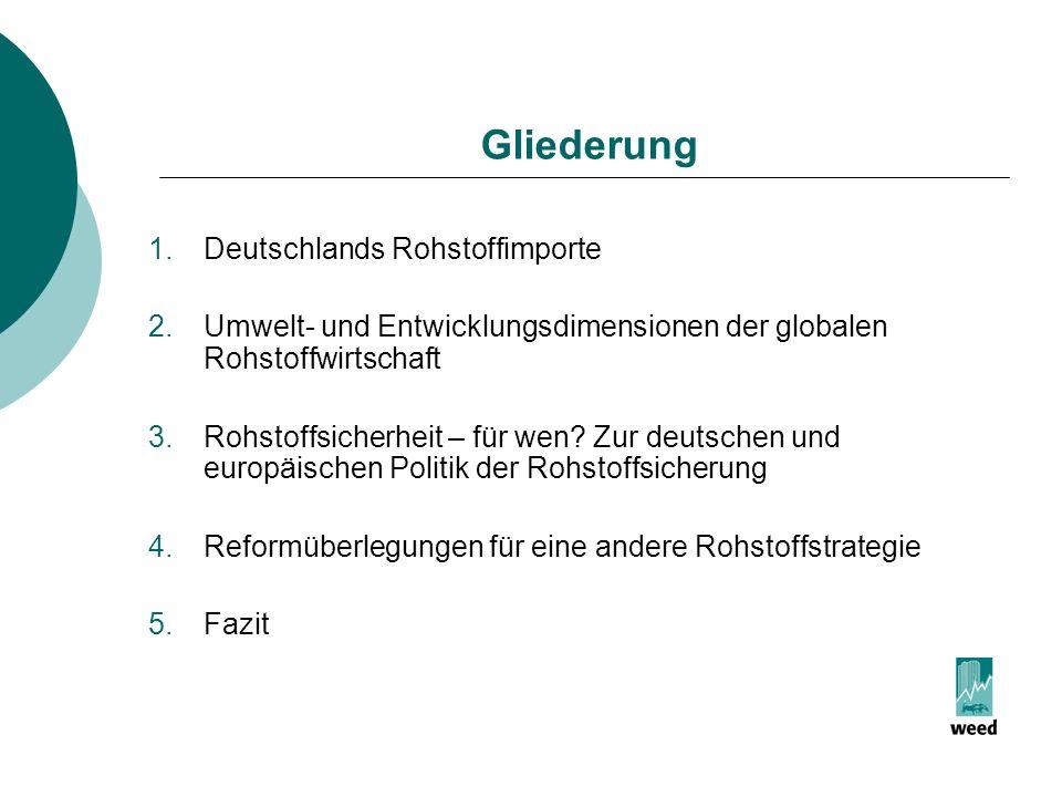 Gliederung Deutschlands Rohstoffimporte