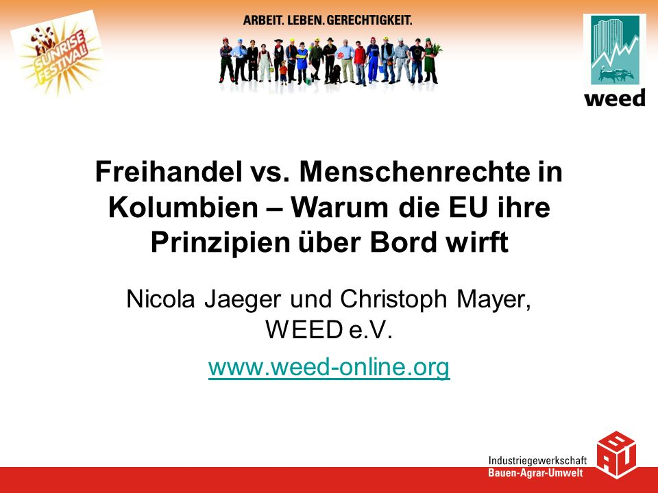 Nicola Jaeger und Christoph Mayer, WEED e.V.