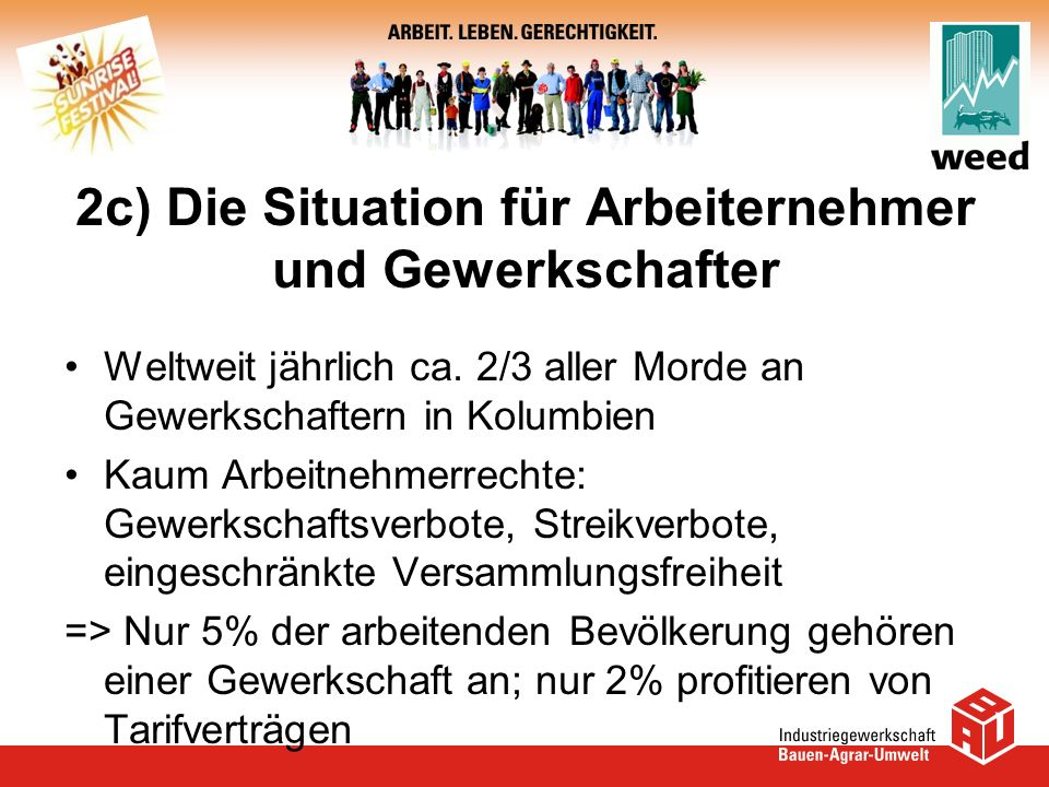 2c) Die Situation für Arbeiternehmer und Gewerkschafter